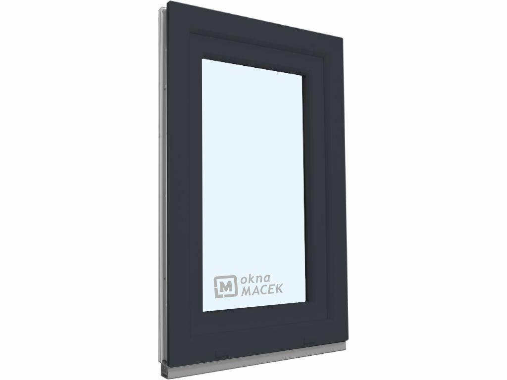 Plastové okno - KNIPPING 70 AD, 600x1500 mm, OS, antracit Otevírání: pravé (OSp), Sklo: čiré, Barva,