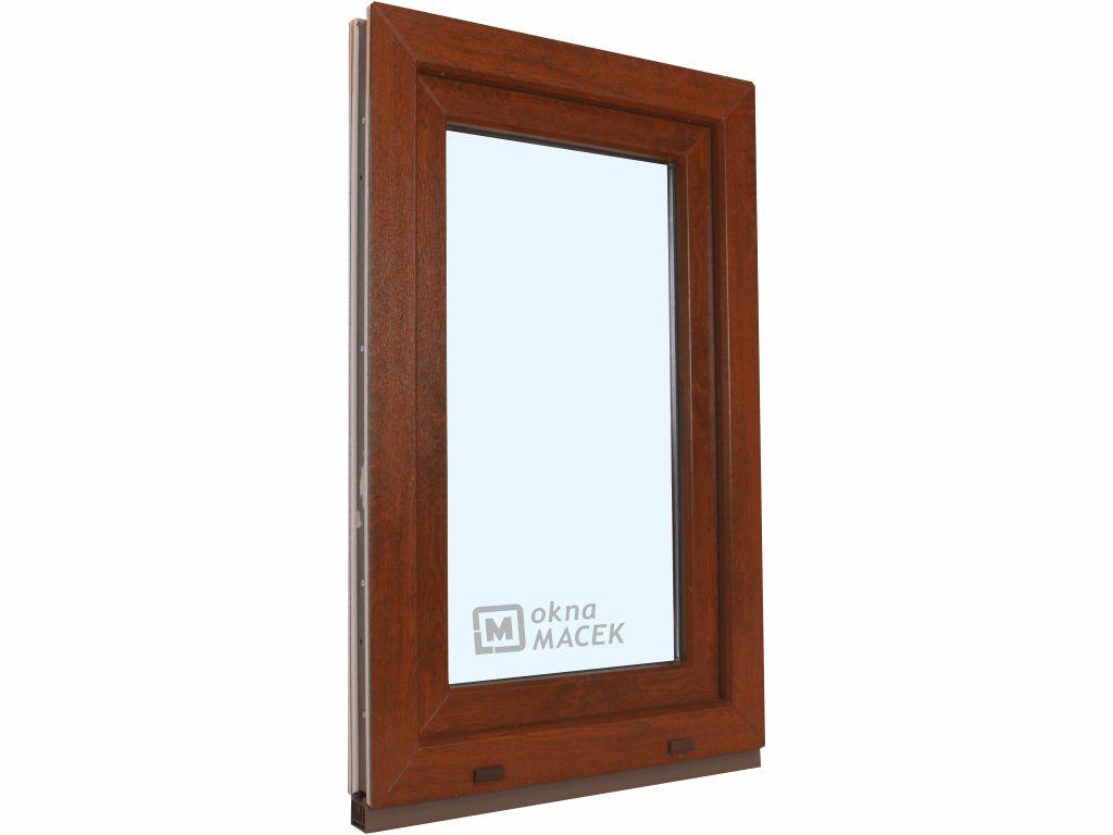 Plastové okno - KNIPPING 70 AD, 600x1500 mm, OS, ořech Otevírání: pravé (OSp), Sklo: čiré, Barva, im