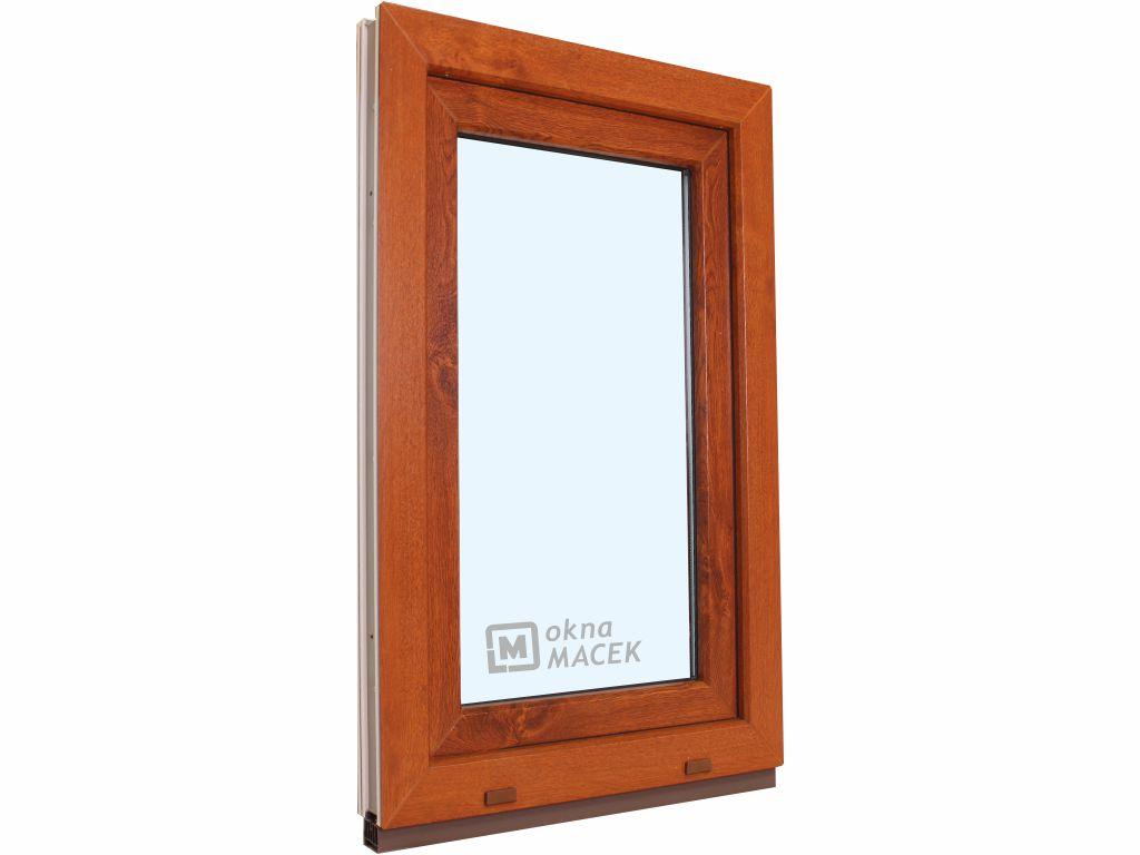 Plastové okno - KNIPPING 70 AD, 600x1500 mm, OS, zlatý dub Otevírání: pravé (OSp), Sklo: čiré, Barva