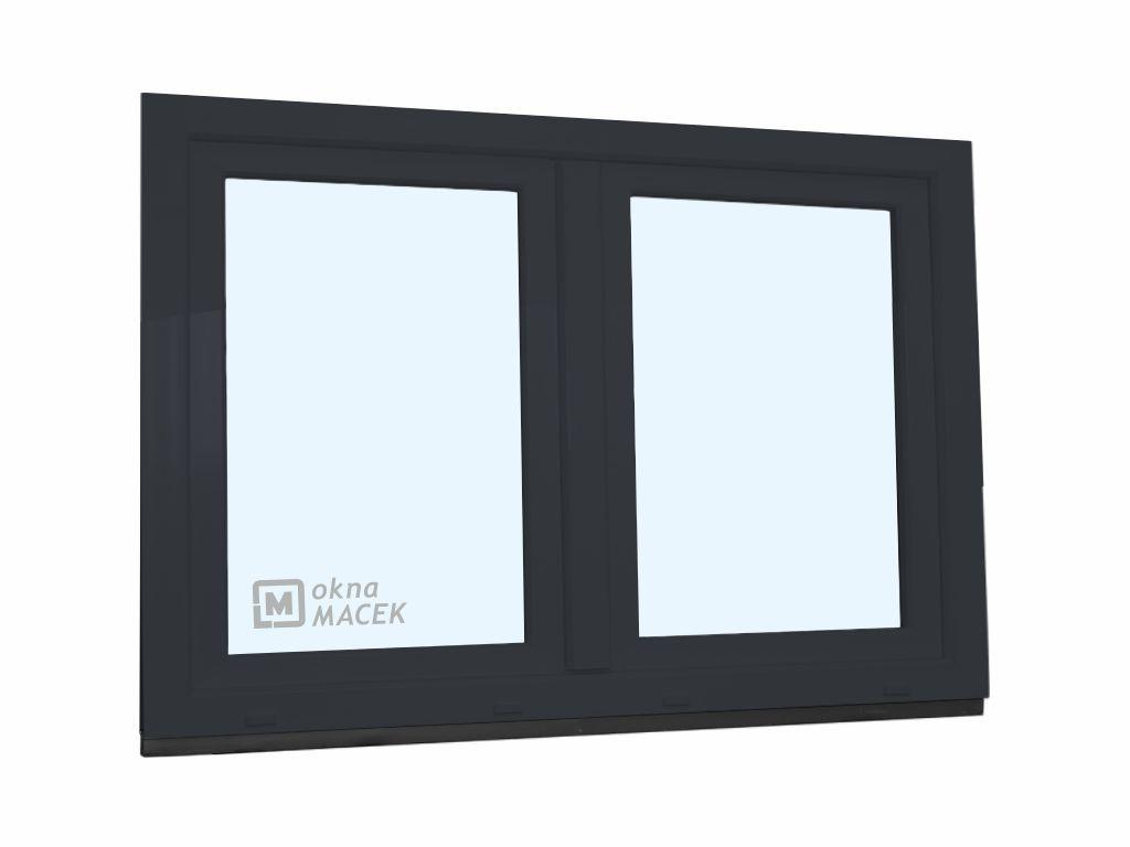Plastové okno - KNIPPING 70 AD, 1500x900 mm, O+OS klapačka, antracit Sklo: čiré, Barva, imitace: ant