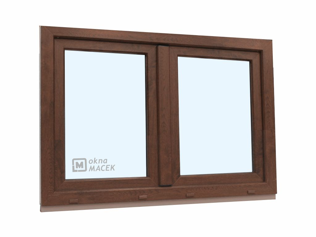 Plastové okno - KNIPPING 70 AD, 1500x900 mm, O+OS klapačka, ořech Sklo: čiré, Barva, imitace: ořech/