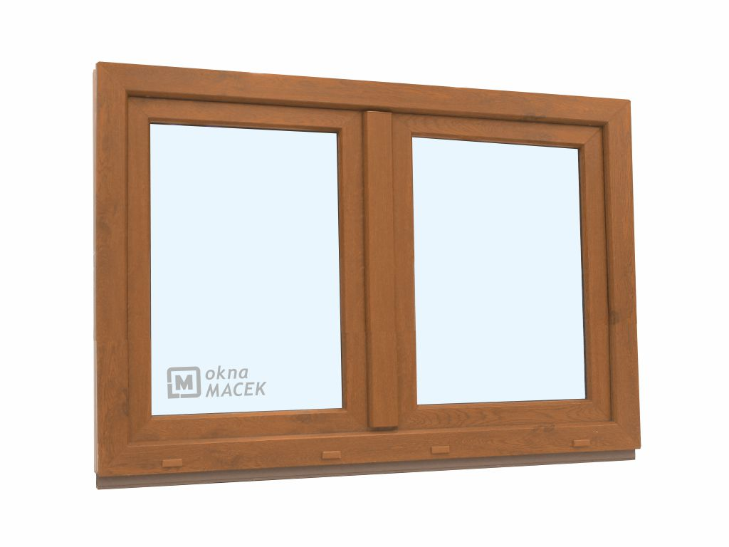 Plastové okno - KNIPPING 70 AD, 1500x900 mm, O+OS klapačka, zlatý dub Sklo: čiré, Barva, imitace: zl