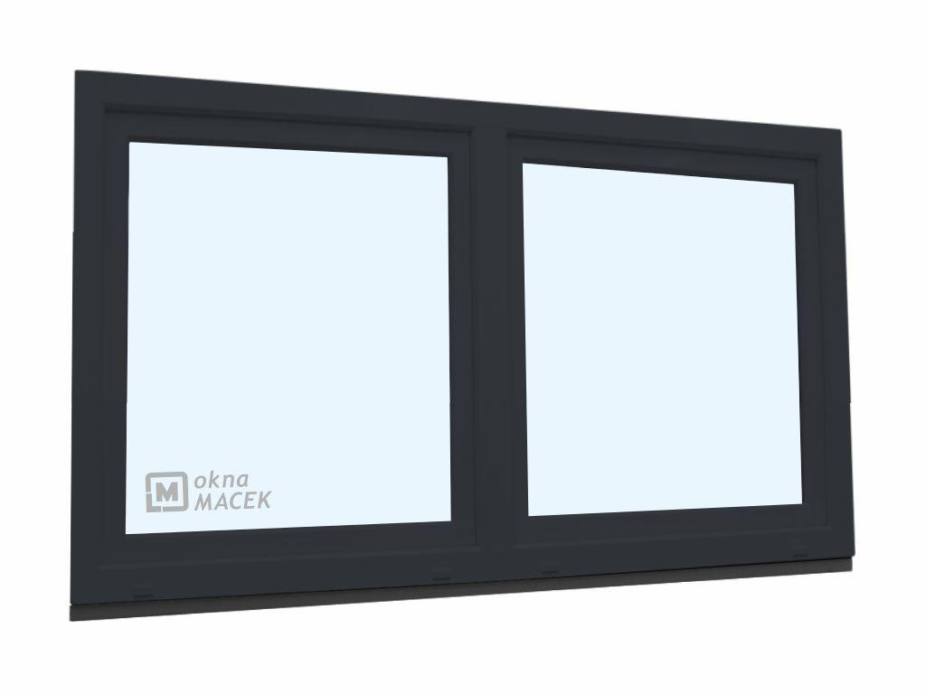 Plastové okno - KNIPPING 70 AD, 1800x900 mm, O/OS sloupek, antracit Sklo: čiré, Barva, imitace: antr