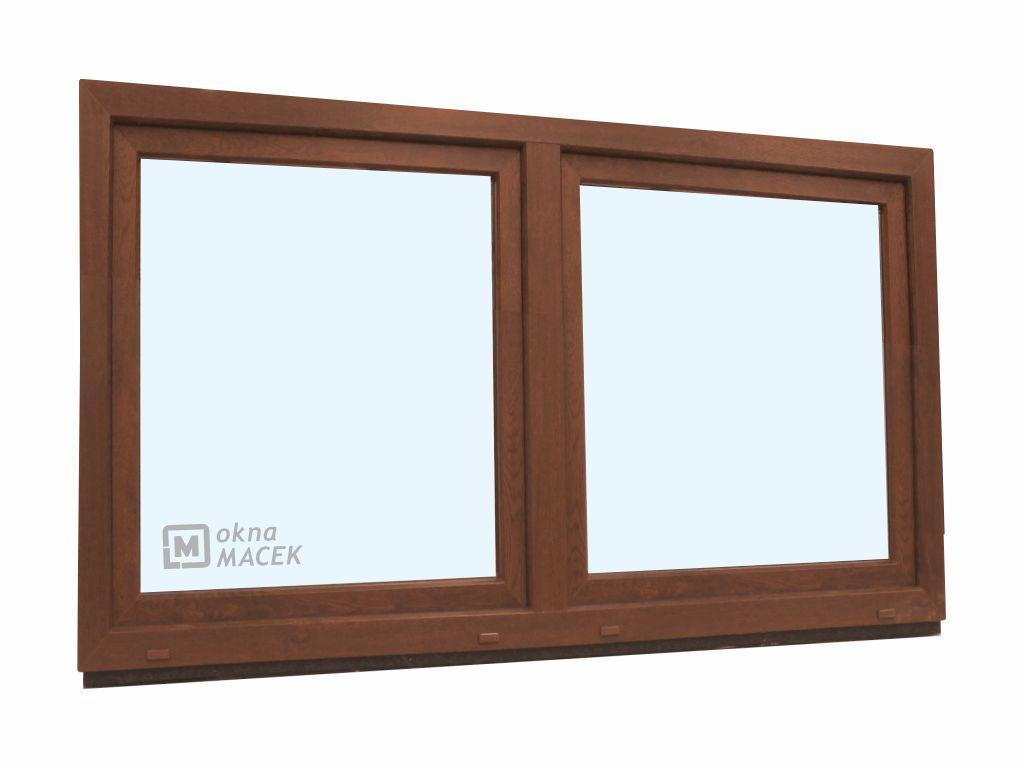 Plastové okno - KNIPPING 70 AD, 1800x900 mm, O/OS sloupek, ořech Sklo: čiré, Barva, imitace: ořech/b