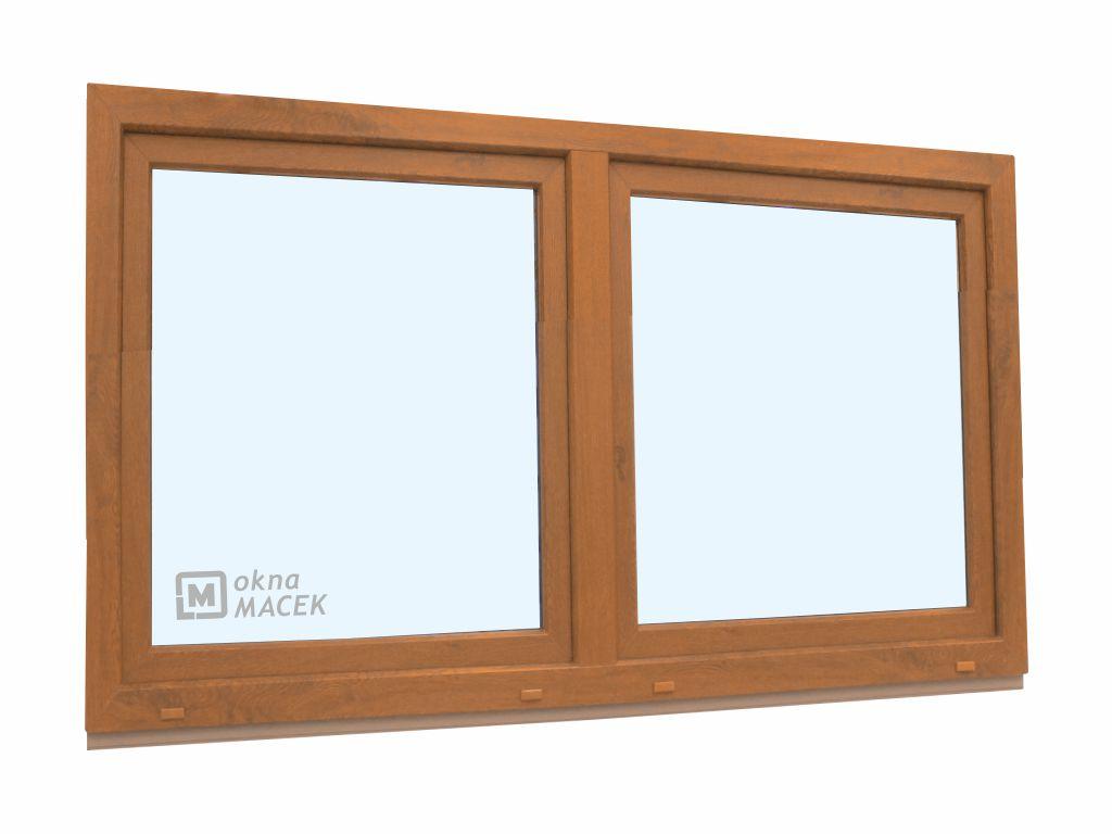 Plastové okno - KNIPPING 70 AD, 1800x900 mm, O/OS sloupek, zlatý dub Sklo: čiré, Barva, imitace: zla