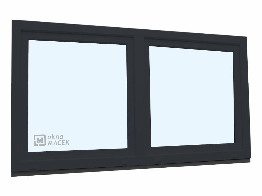 Plastové okno - KNIPPING 70 AD, 2100x900 mm, O/OS sloupek, antracit Sklo: čiré, Barva, imitace: antr