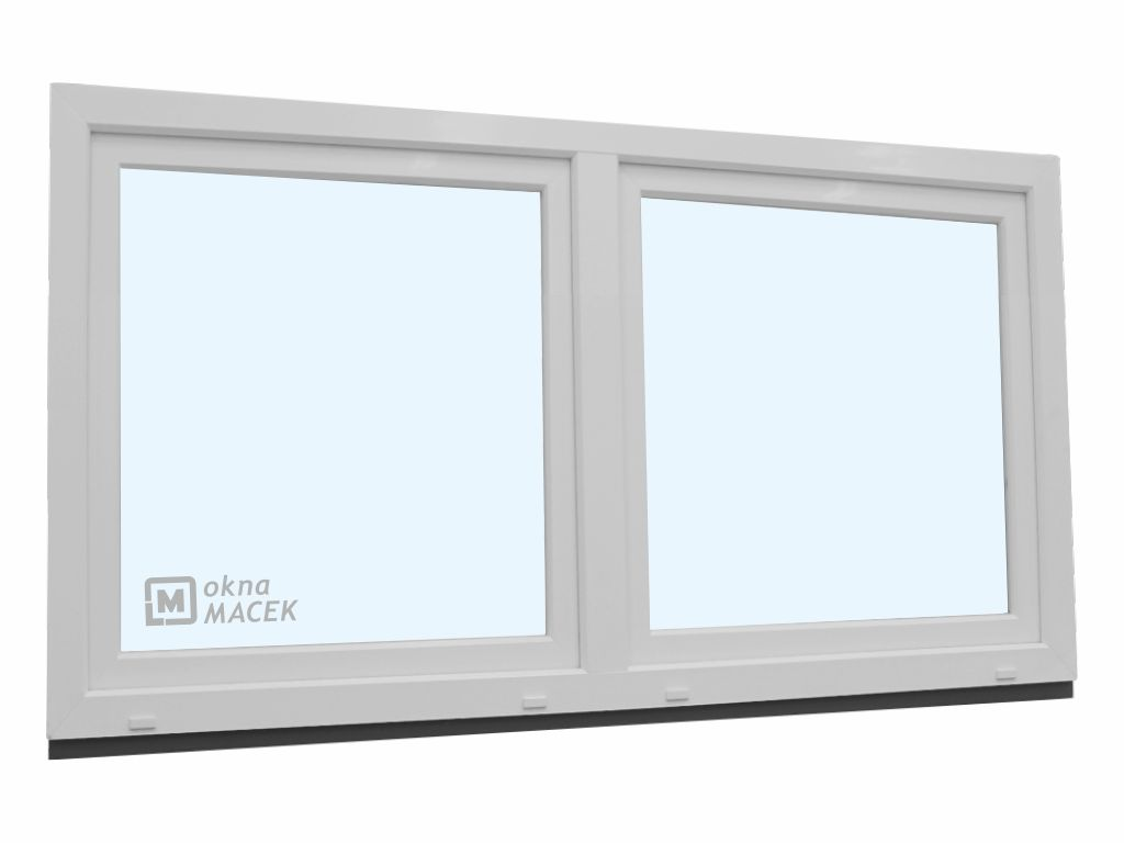 Plastové okno - KNIPPING 70 AD, 2100x900 mm, O/OS sloupek, bílá Sklo: ornamentální (kůra čirá)