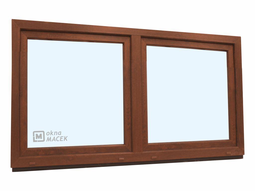 Plastové okno - KNIPPING 70 AD, 2100x900 mm, O/OS sloupek, ořech Sklo: čiré, Barva, imitace: ořech/b