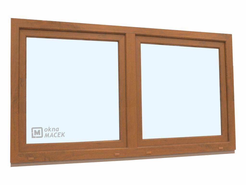 Plastové okno - KNIPPING 70 AD, 2100x900 mm, O/OS sloupek, zlatý dub Sklo: čiré, Barva, imitace: zla