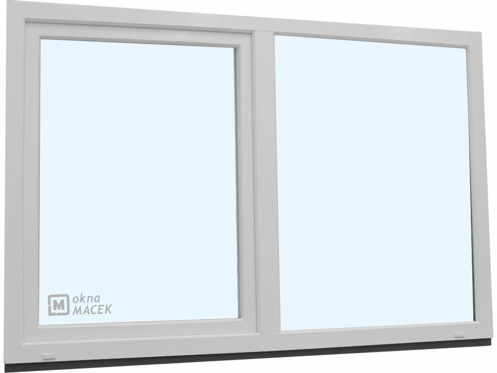 Plastové okno - KNIPPING 70 AD, 2400x1500 mm, FIX/OS, bílá