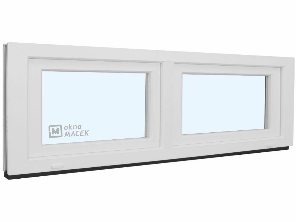 Plastové okno - KNIPPING 70 AD, 2400x600 mm, S/S, bílá Sklo: čiré