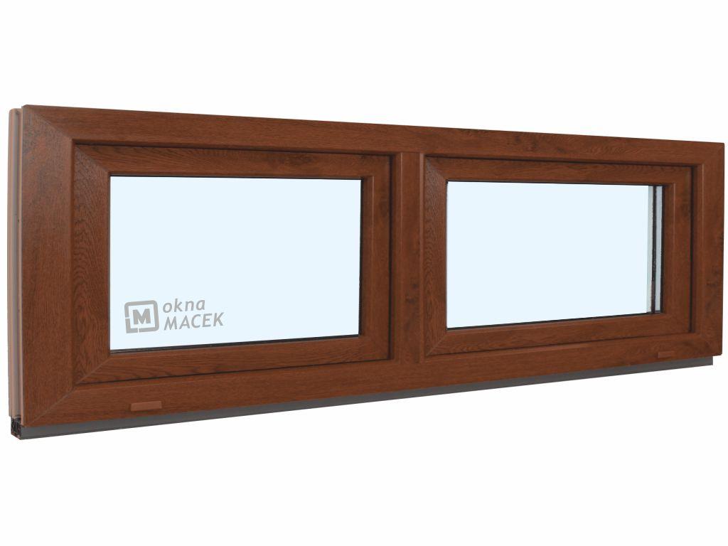 Plastové okno - KNIPPING 70 AD, 2400x600 mm, S/S, ořech Sklo: čiré, Barva, imitace: ořech/bílá (jedn