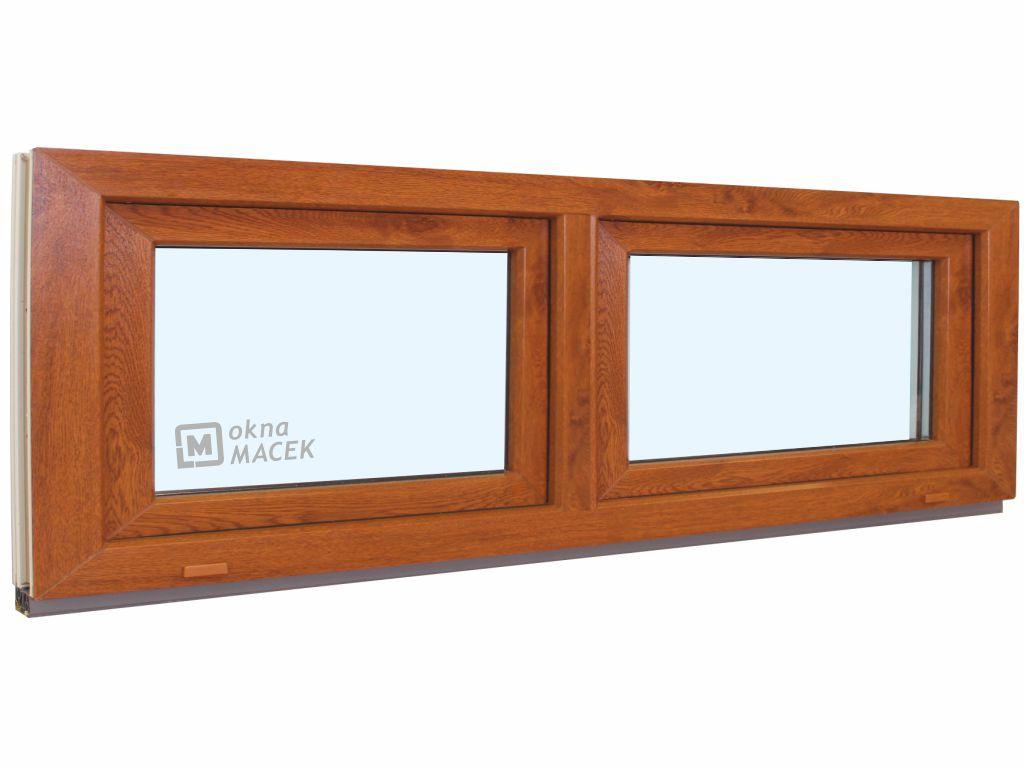 Plastové okno - KNIPPING 70 AD, 2400x600 mm, S/S, zlatý dub Sklo: čiré, Barva, imitace: zlatý dub/bí