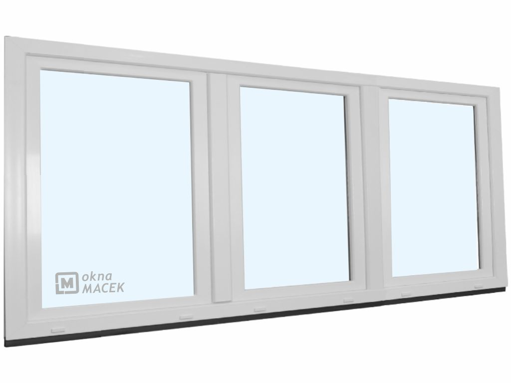 Plastové okno - KNIPPING 70 AD, 2400x900 mm, OS+O/OS, bílá Sklo: čiré