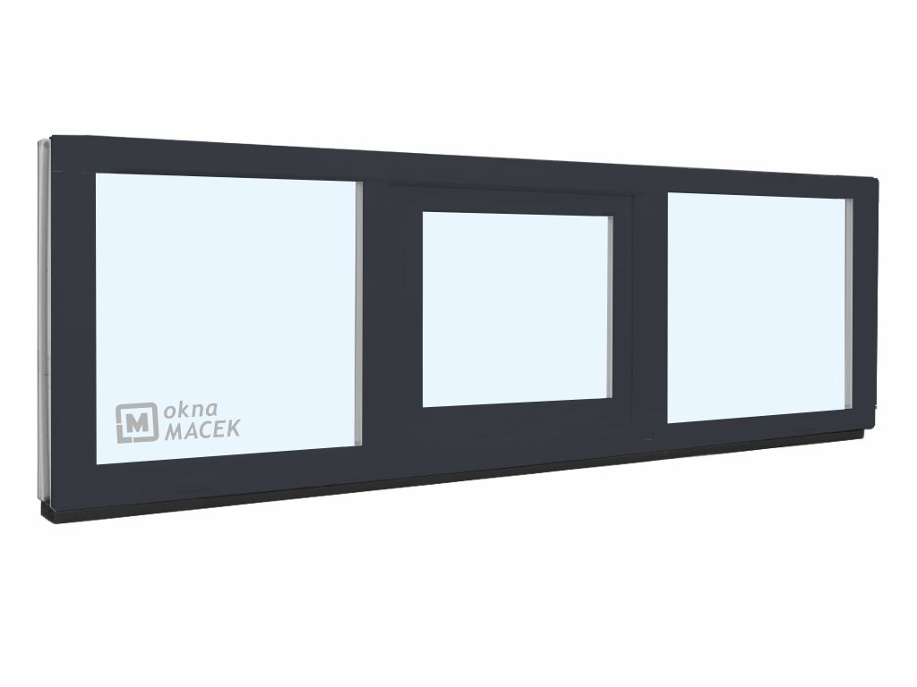 Plastové okno - KNIPPING 70 AD, 2100x500 mm, FIX/S/FIX, antracit Sklo: čiré, Barva, imitace: antraci