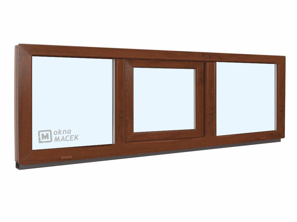Plastové okno - KNIPPING 70 AD, 2100x500 mm, FIX/S/FIX, ořech Sklo: čiré, Barva, imitace: ořech/bílá