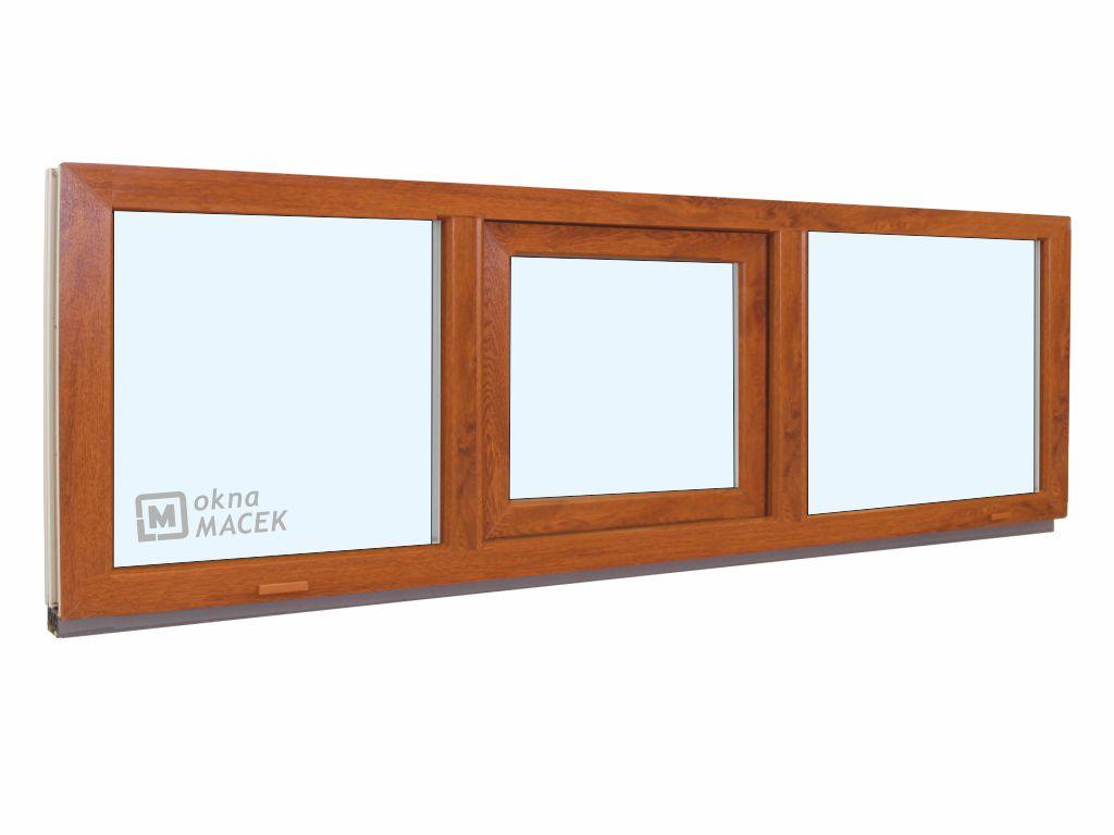 Plastové okno - KNIPPING 70 AD, 2100x500 mm, FIX/S/FIX, zlatý dub Sklo: čiré, Barva, imitace: zlatý