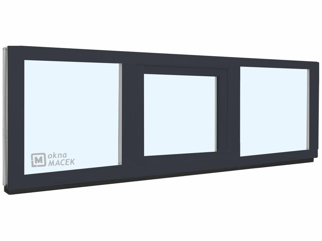Plastové okno - KNIPPING 70 AD, 2400x600 mm, FIX/S/FIX, antracit Sklo: čiré, Barva, imitace: antraci