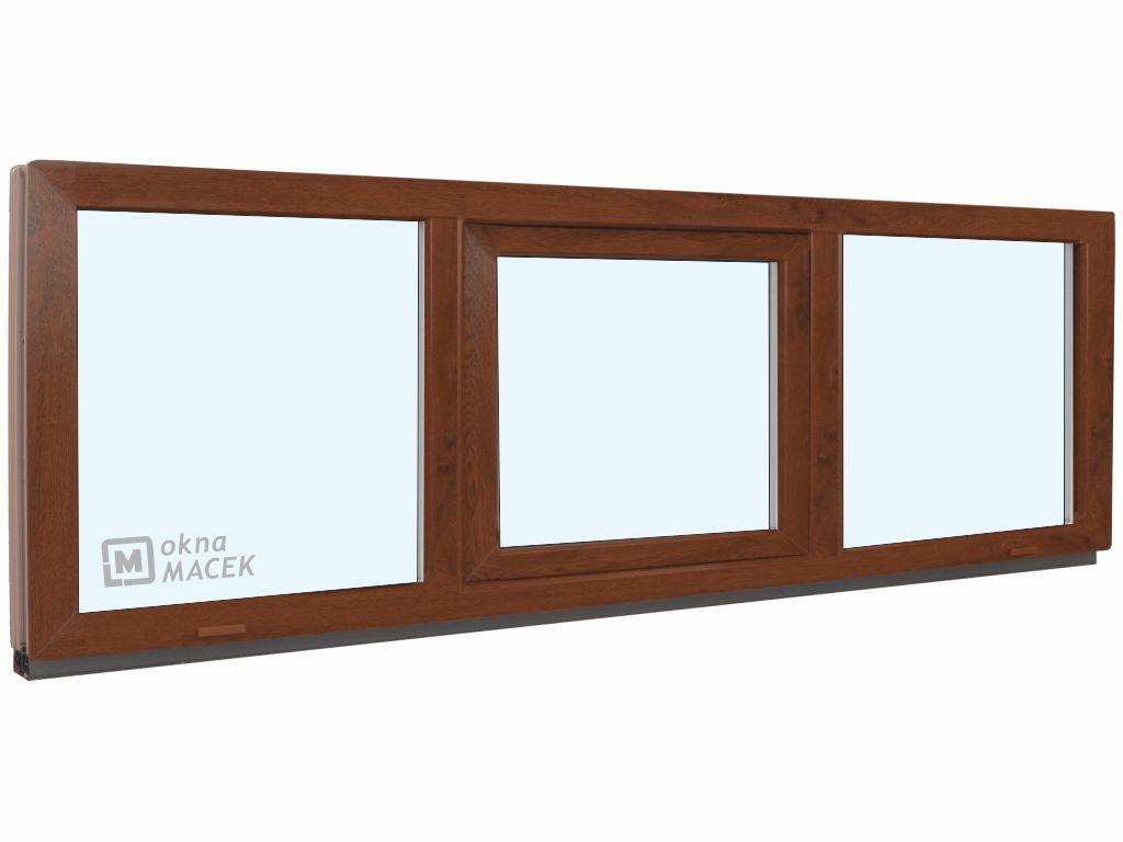 Plastové okno - KNIPPING 70 AD, 2400x600 mm, FIX/S/FIX, ořech Sklo: čiré, Barva, imitace: ořech/bílá