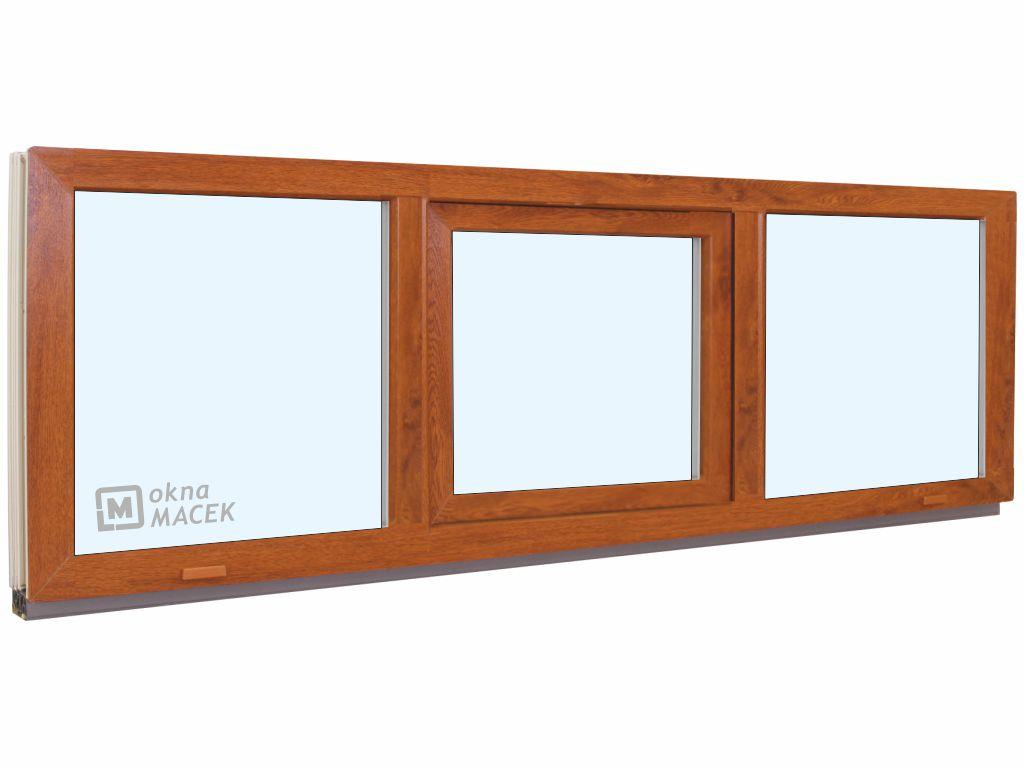 Plastové okno - KNIPPING 70 AD, 2400x600 mm, FIX/S/FIX, zlatý dub Sklo: čiré, Barva, imitace: zlatý