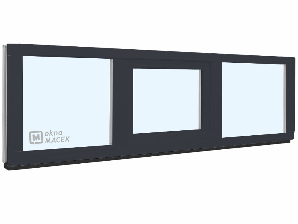 Plastové okno - KNIPPING 70 AD, 2400x500 mm, FIX/S/FIX, antracit Sklo: čiré, Barva, imitace: antraci