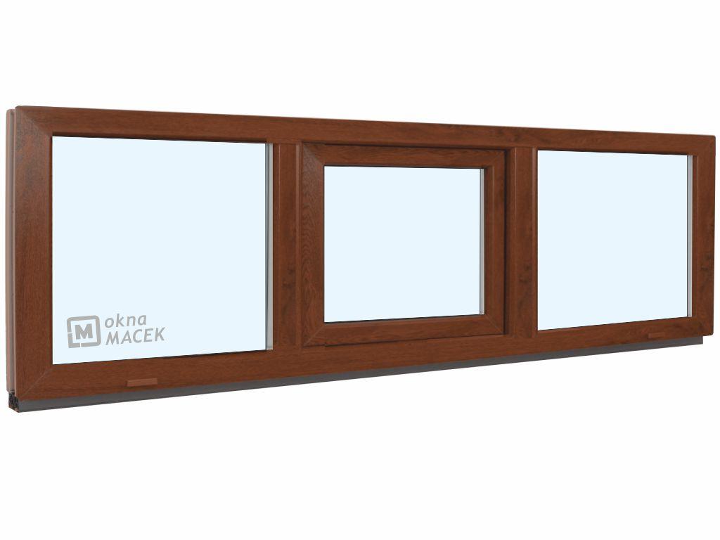 Plastové okno - KNIPPING 70 AD, 2400x500 mm, FIX/S/FIX, ořech Sklo: čiré, Barva, imitace: ořech/bílá