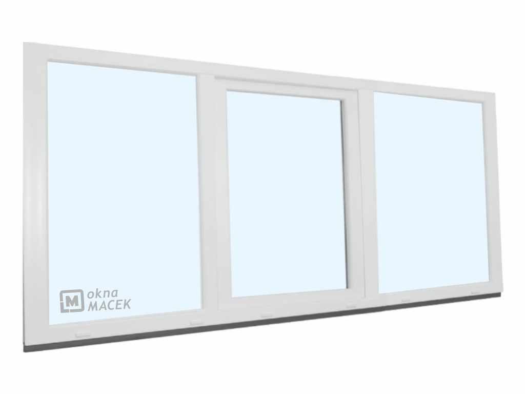 Plastové okno - KNIPPING 70 AD, 2100x900 mm, FIX/OS/FIX, bílá Sklo: čiré