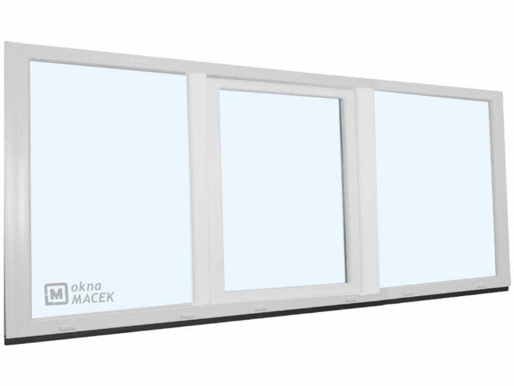 Plastové okno - KNIPPING 70 AD, 2400x900 mm, FIX/OS/FIX, bílá Sklo: čiré