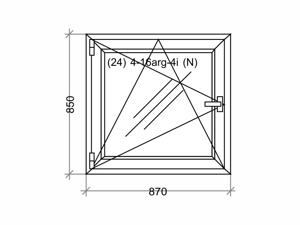 Plastové okno OLIMPIA 60 AD, 900x900 mm, OS, bílá Otevírání: pravé (OSp)