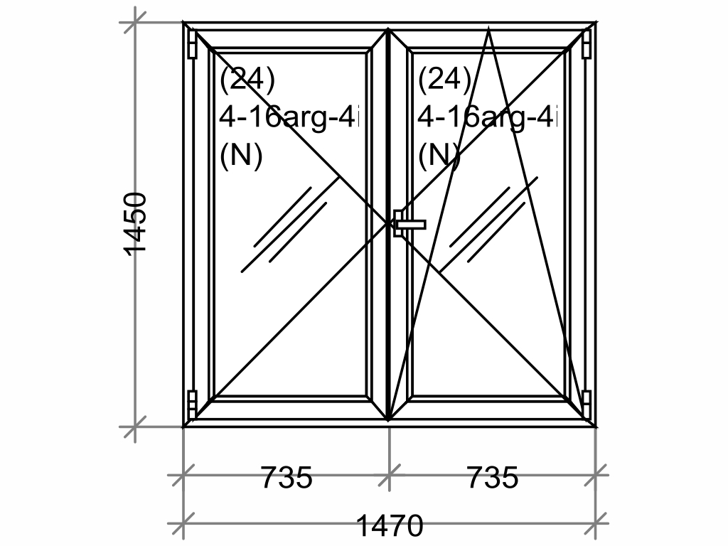 Plastové okno OLIMPIA 60 AD, 1500x1500 mm, O+OS klapačka, bílá