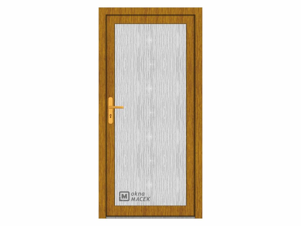 Plastové vchodové dveře - WDS 70 AD, prosklené, zlatý dub/bílá Otevírání: levé, Šířka průchodu: 800