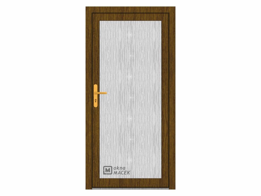 Plastové vchodové dveře - WDS 70 AD, prosklené, ořech/bílá Otevírání: levé, Šířka průchodu: 800 mm,