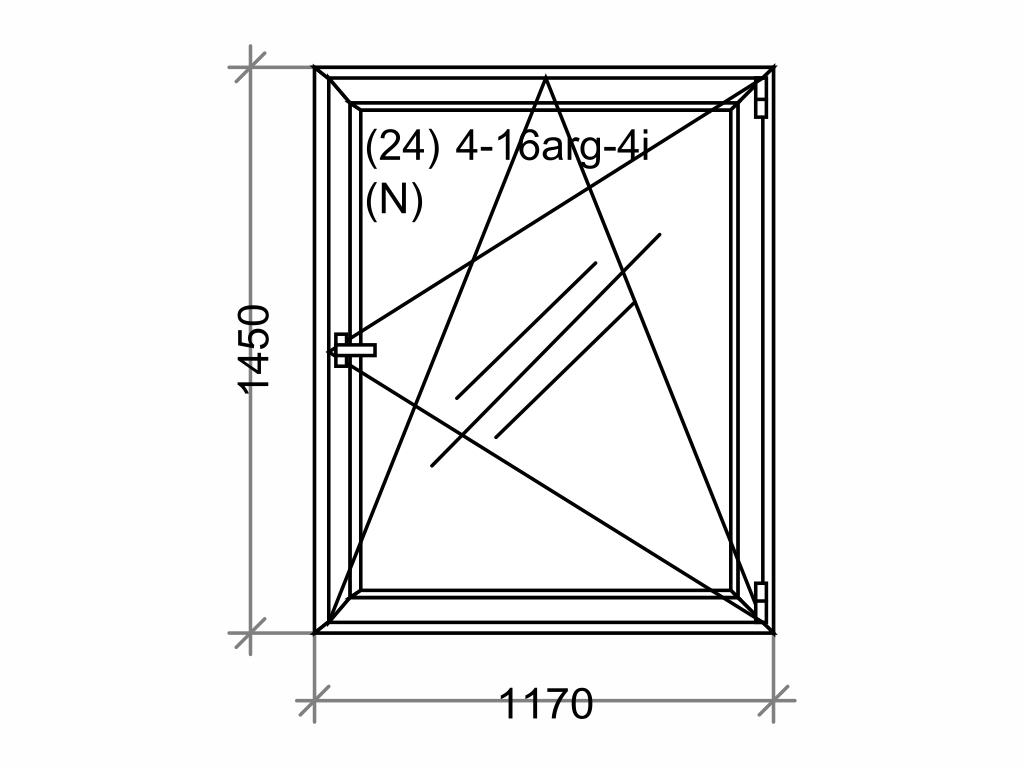 Plastové okno OLIMPIA 60 AD, 1200x1500 mm, OS, bílá Otevírání: pravé (OSp)