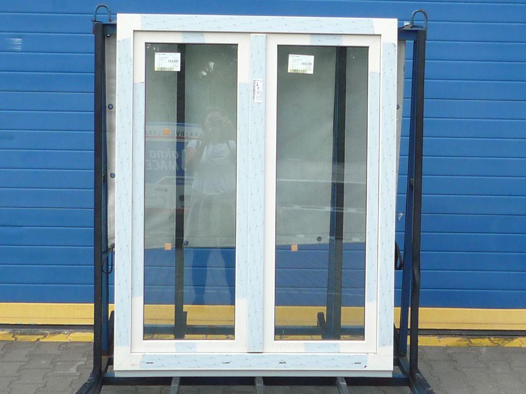 KBE Plastové okno - 1200x1200 mm, otevíravé/sklopné (O+OS klapačka), ořech/bílá