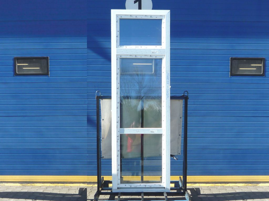 KBE Plastové balkonové dveře - 800x2200 mm, otevíravé/sklopné (OS), bílá/bílá Otevírání: pravé (OSp)