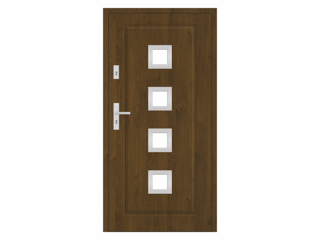 Ocelové vchodové dveře - STALPRODUKT T21/S30, tmavý ořech Otevírání: levé, Šířka průcho
