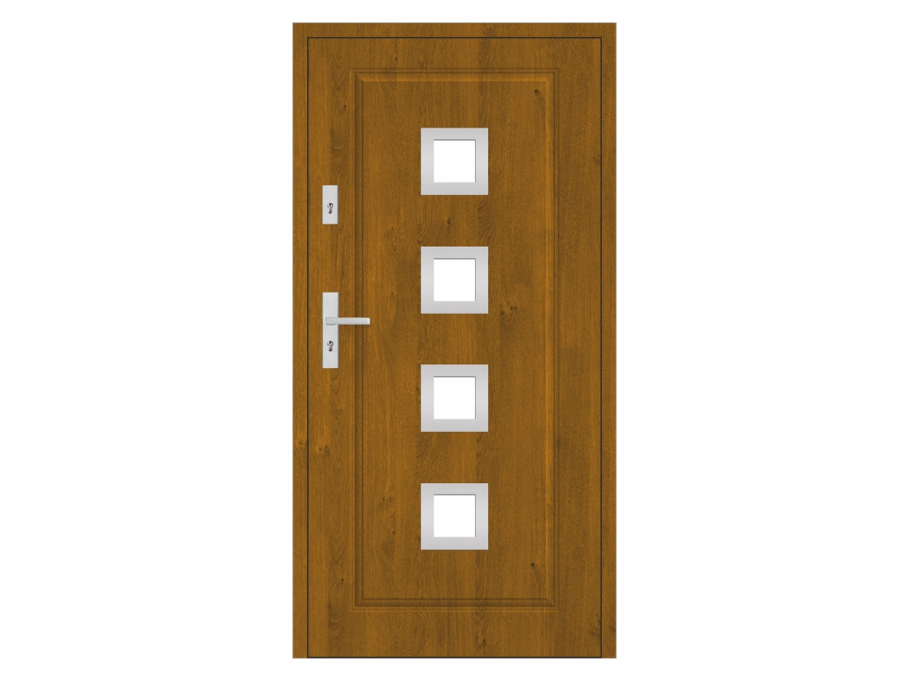 Ocelové vchodové dveře - STALPRODUKT T21/S30, zlatý dub Otevírání: levé, Šířka průchodu: