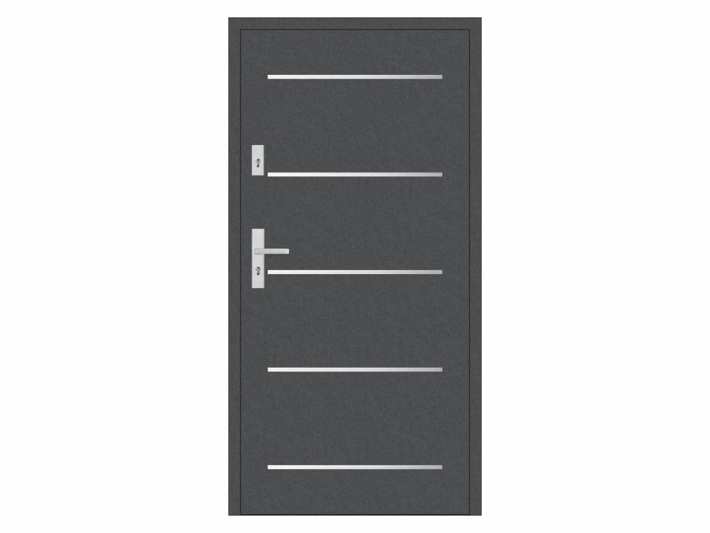 Ocelové vchodové dveře - STALPRODUKT A9, antracit Otevírání: levé, Šířka průchodu: 800 mm
