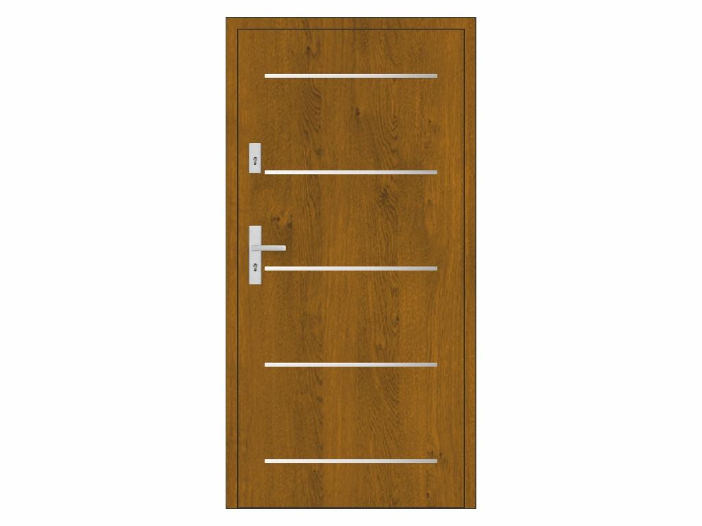 Ocelové vchodové dveře - STALPRODUKT A9, zlatý dub Otevírání: levé, Šířka průchodu: 800 mm