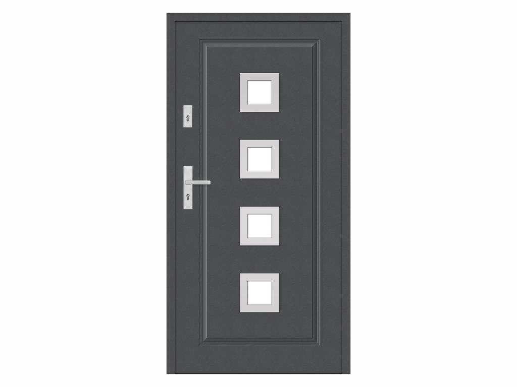 Ocelové vchodové dveře - STALPRODUKT T21/S30, antracit Otevírání: levé, Šířka průchodu: 800 mm