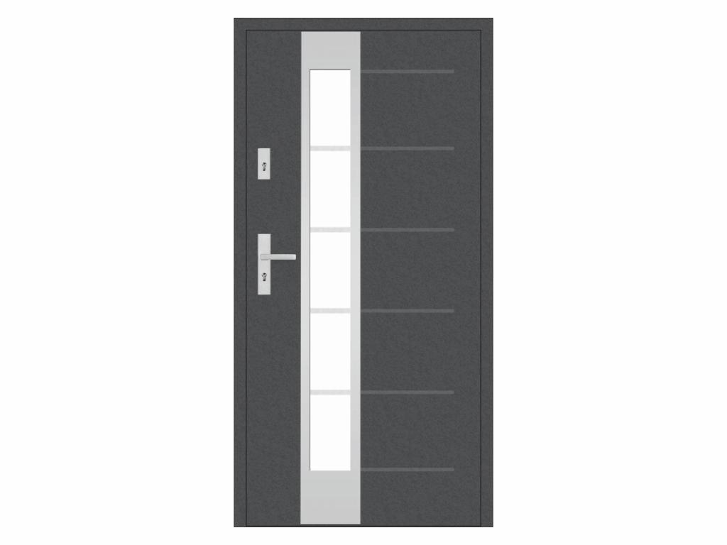 Ocelové vchodové dveře - STALPRODUKT T41/S37, antracit Otevírání: levé, Šířka průchodu: 800 mm