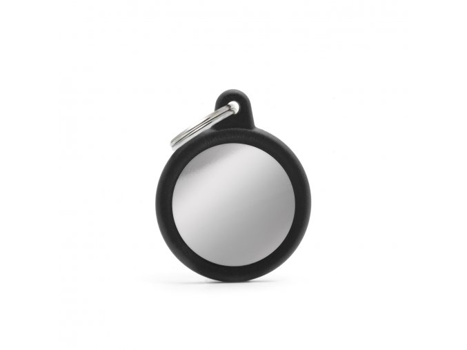 CIRCLE CHROME PLATED BRASS BLACK RUBBER
