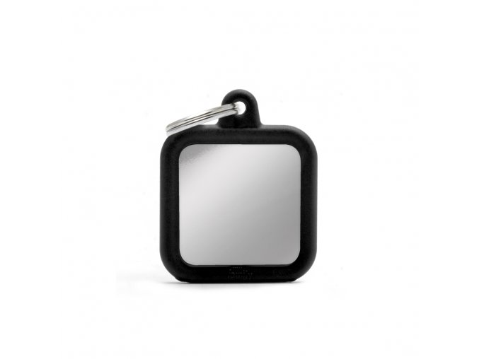SQUARE CHROME PLATED BRASS BLACK RUBBER