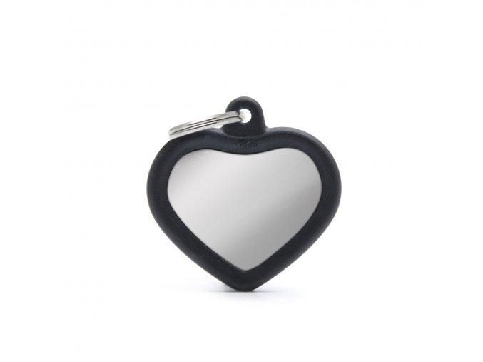 HEART CHROME PLATED BRASS BLACK RUBBER