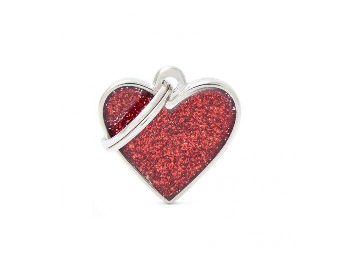HEART GLITTER RED