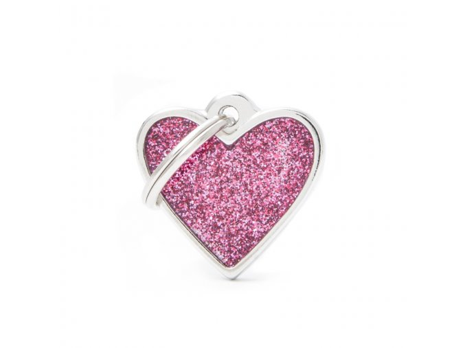 SMALL HEART GLITTER PINK