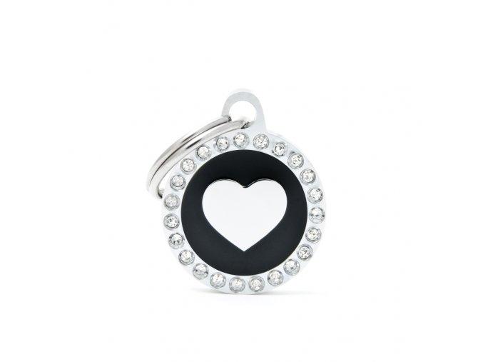 SMALL BLACK CIRCLE HEART GLAM