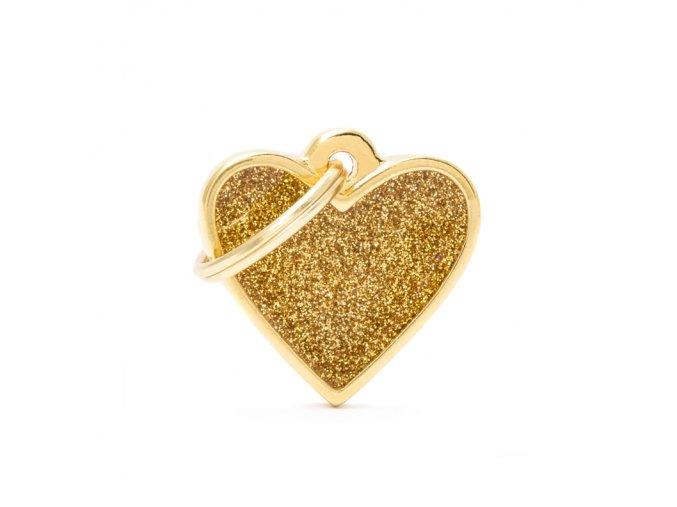 SMALL HEART GLITTER GOLD