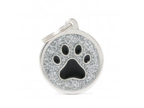 GREY BIG GLITTER CIRCLE BLACK PAW