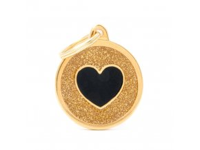 GOLD BIG GLITTER CIRCLE BLACK HEART